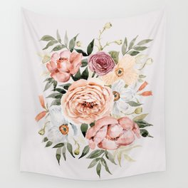 Muted Peonies and Poppies Wall Tapestry