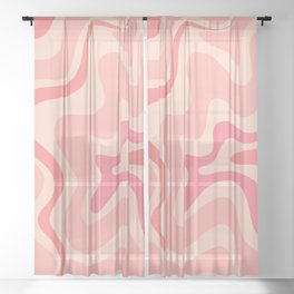 Liquid Swirl Abstract in Soft Pink Sheer Curtain