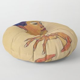 SELF PORTRAIT WITH HANDS ON CHEST - EGON SCHIELE Floor Pillow