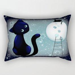 Blue Kitty Dream on the Moon Rectangular Pillow