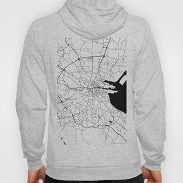 White on Black Dublin Street Map Hoody