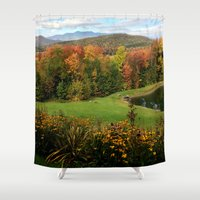 vermont Shower Curtains featuring Warren Vermont Foliage by Vermont Greetings