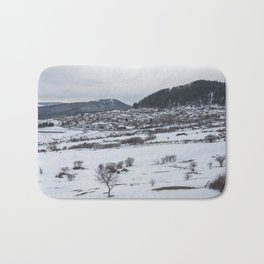 Snowy landscape from Sicily Bath Mat