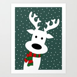 Reindeer in a snowy day (green) Art Print