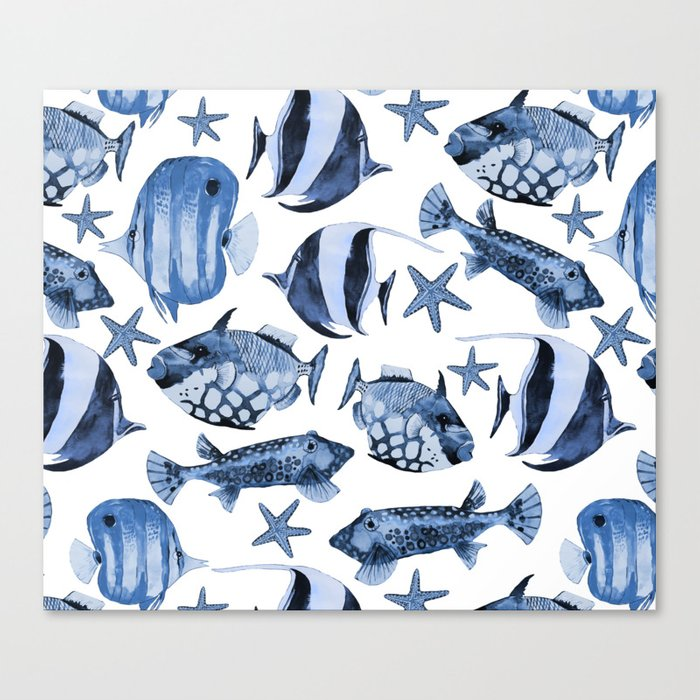 Fish underwater watercolor allover pattern Canvas Print