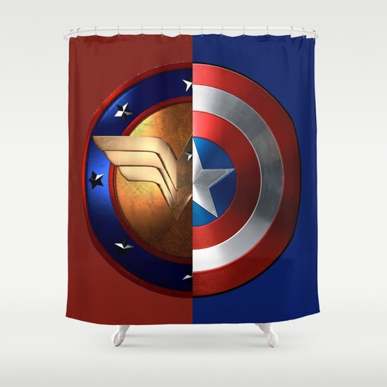Wonder woman captain america shower curtain by debum society6 - Captain america curtains ...