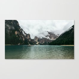 Pragser Wildsee Lake in the Prags Dolomites in South Tyrol Italy Canvas Print