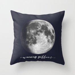 Waxing Gibbous Moon on Navy English Throw Pillow