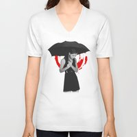 umbrella V-neck T-shirts featuring Umbrella by Bill Pyle