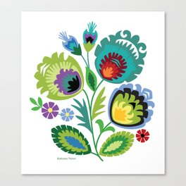 Polish Folk Flowers Green Canvas Print