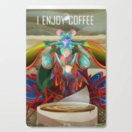 Rainbow Mantis Shrimp Enjoys Coffee Cutting Board