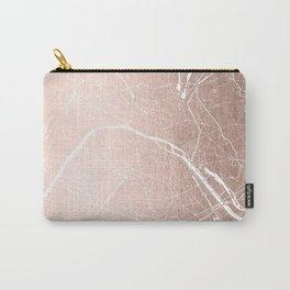 Paris France Minimal Street Map - Rose Gold Glitter on White Carry-All Pouch