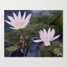 Watercolor Flower Water Lily Landscape Nature Canvas Print
