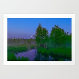 White moon night on the forest river Art Print