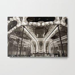 Carousel in B&W Metal Print