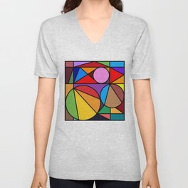 Rainbow Modern Art Unisex V-Neck