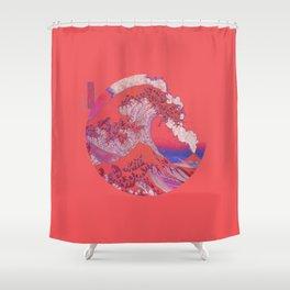 Great Wave Off Kanagawa Volcano Minimalism Shower Curtain