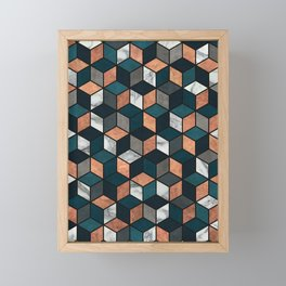 Copper, Marble and Concrete Cubes with Blue Framed Mini Art Print