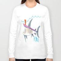 submarine Long Sleeve T-shirts featuring Shark Submarine by Ryan van Gogh