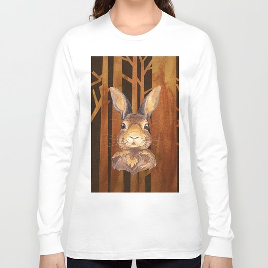 Rabbit in the forest- abstract animal hare watercolor illustration Long Sleeve T-shirt