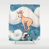 goat Shower Curtains featuring Winter Goat by Timone