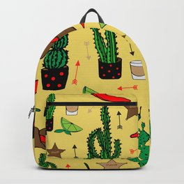 Western cactus pattern - yellow Backpack