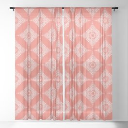 Boho motif on 'living coral' background Sheer Curtain