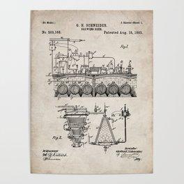 Brewing Beer Patent - Beer Art - Antique Poster