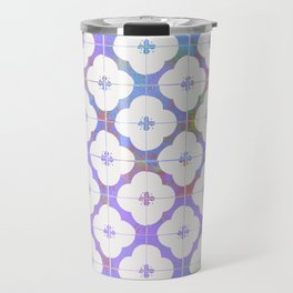 Simple Flower Tile Pattern in Lilac Travel Mug