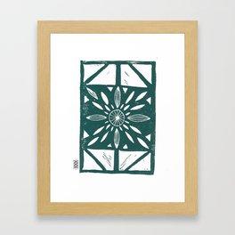 Linocut Flower Dark Green Framed Art Print