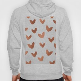 Rose Gold Pink Hearts on Paper Hoody
