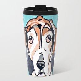 Basset Hound Dog Portrait Travel Mug