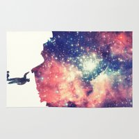 galaxy Area & Throw Rugs featuring Painting the universe by badbugs_art