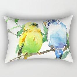 Budgies, Animal art, love, two birds bird artwork, bird pet Rectangular Pillow