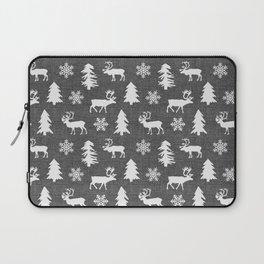 Winter Forest on Dark Linen Laptop Sleeve