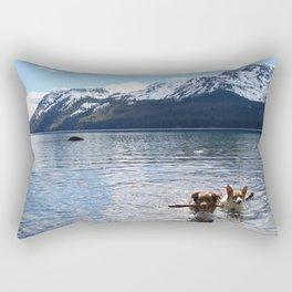 Corgi & Mini Aussie at Lake Tahoe Rectangular Pillow