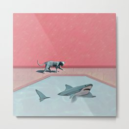 Shark and Kitty Metal Print