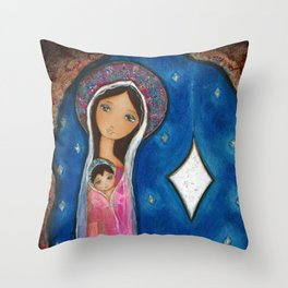 Nativity Star III by Flor Larios Throw Pillow