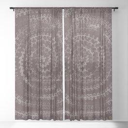 Circular Plants in Maroon Sheer Curtain