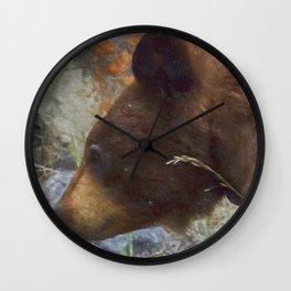Collared Cinnamon Black Bear at Vermillion Lakes painterly Wall Clock