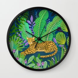 Jungle Leopard in the Evening Wall Clock
