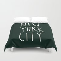 nyc Duvet Covers featuring NYC by Leah Flores