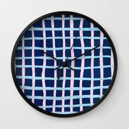 Pink and Blue Grid Wall Clock