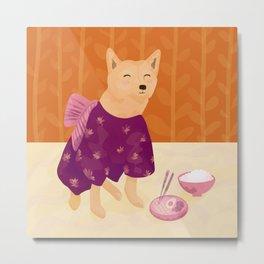 Akita Shiba Inu in a Purple Kimono Eating Ramen and Rice - Orange Background Metal Print