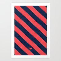 Preppy & Classy, Navy Blue / Red Striped Art Print