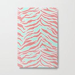Tiger Print - Blush Mint Metal Print