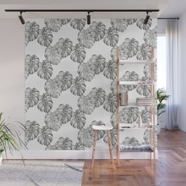 Black and White Monstera Leaf Pattern Wall Mural