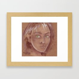 Woman with green eyes look into the soul. Pastel Framed Art Print