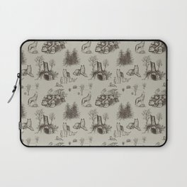 Eurasian Wolf Toile Pattern (Beige and Brown) Laptop Sleeve