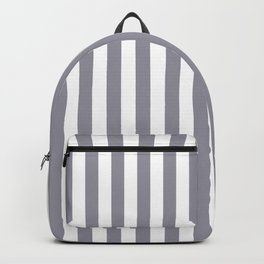 Pantone Lilac Gray & White Stripes, Wide Vertical Line Pattern Backpack